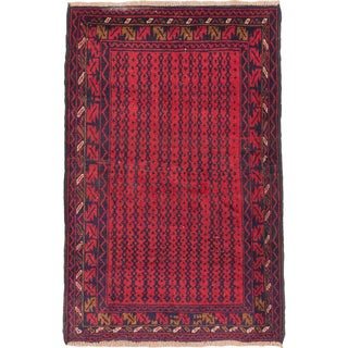 eCarpetGallery Herati Blue/Red Wool Hand-knotted Rug (3'1 x 4'8)