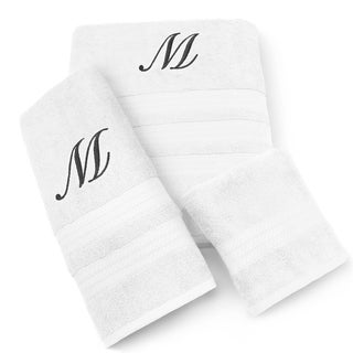 Kaufman Imperial Cotton 3-piece Black Monogram Towel Set