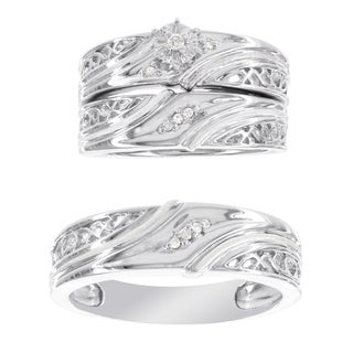 H Star Platina 4 Diamond Accent Men's and Women's Engagement Trio Bridal Set (I-J, I2-I3)