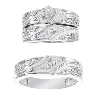 H Star Platina 4 Diamond Accent Men's and Women's Engagement Trio Bridal Set