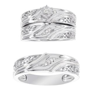 H Star Platina 4 Diamond Accent Men's and Women's Engagement Trio Bridal Set (I-J, I2-I3)