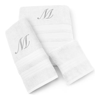 Milan Cotton 3-piece Silver Monogram Towel Set