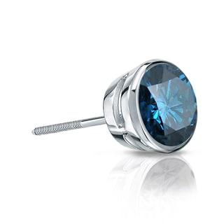 Auriya 14k Gold 1/4ct TDW Bezel Screw-Back Round Cut Blue Diamond Single Stud Earring (Blue, SI2-SI3)