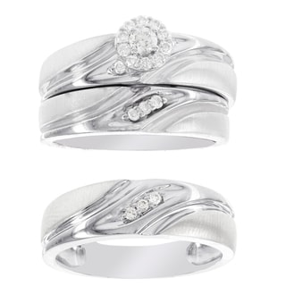 H Star Platina 4 Diamond 1/4ct Men's and Women's Engagement Trio Bridal Set (I-J, I2-I3)