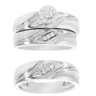 H Star Platina 4 Diamond 1/4ct Men's and Women's Engagement Trio Bridal Set (I-J, I2-I3)