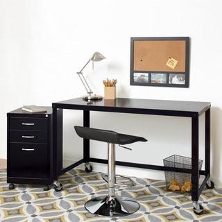 Carbon Loft Laennec Black Steel 48-inch Wide Industrial Modern Mobile Rolling Desk