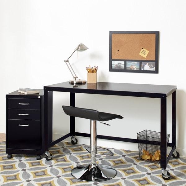 industrial modern 48 inch wide black steel mobile desk rolling cart