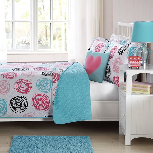 Laura Hart Kids Colette Pink Circles Printed Quilt Set with Decorative Pillow