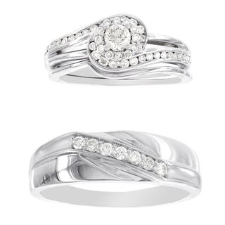 H Star Platina 4 Diamond 3/4ct Men's and Women's Engagement Trio Bridal Set