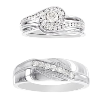 H Star Platina 4 Diamond 3/4ct Men's and Women's Engagement Trio Bridal Set (I-J, I2-I3)