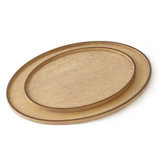 Bronze Bleached Walnut Wood Oval Drinks Tray