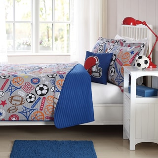 Laura Hart Kids Sports Express Printed Quilt Set with Decorative Pillow