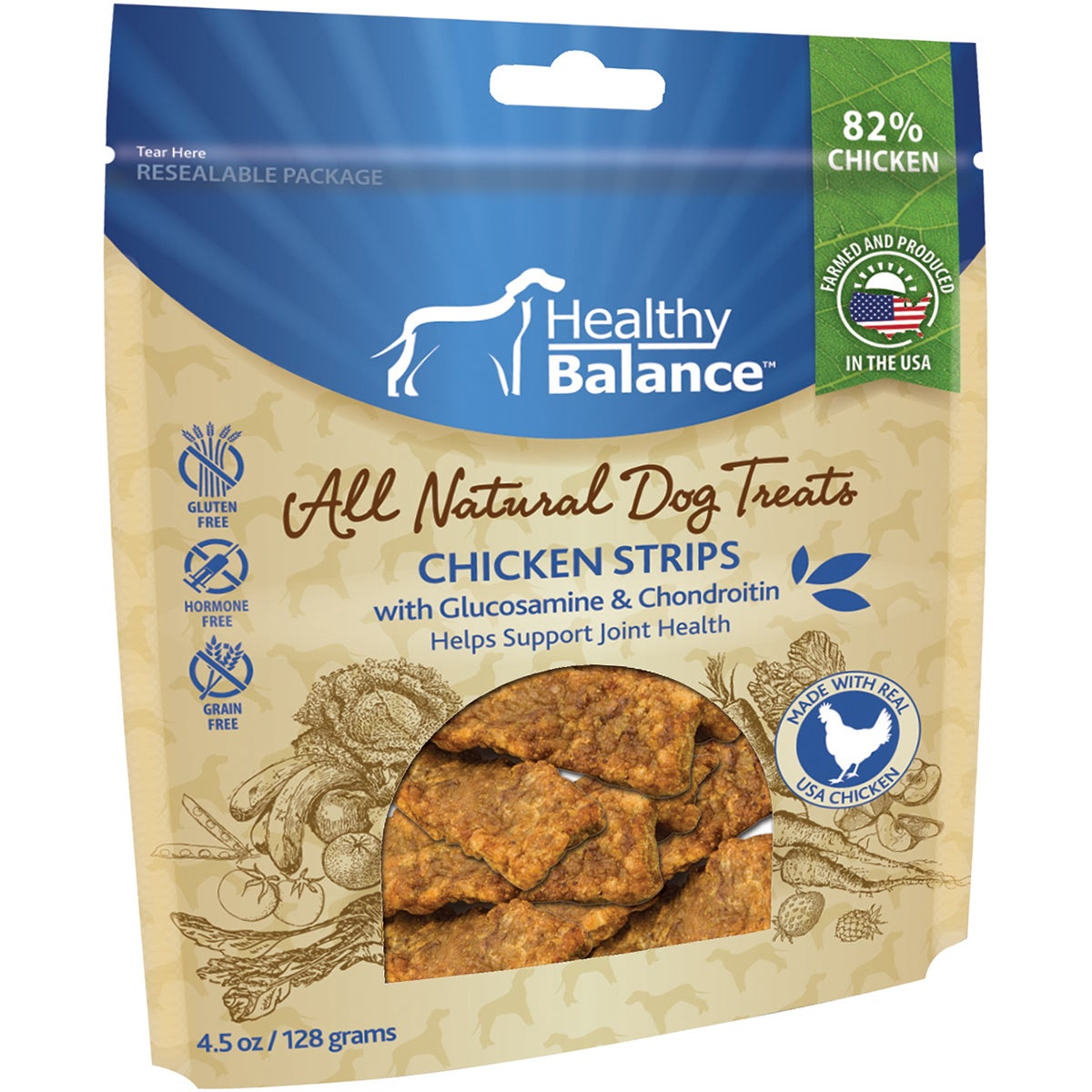 Healthy Balance Dog Treats 4.5oz (Chicken Strips Hip & Jo...
