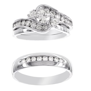 H Star Platina 4 Diamond 1 1/5ct Men's and Women's Engagement Trio Bridal Set (I-J, I2-I3)