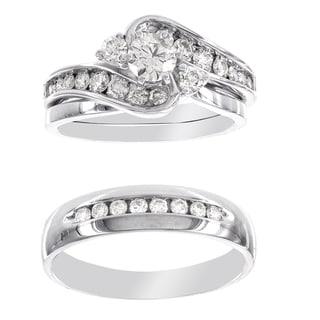 H Star Platina 4 Diamond 1 1/5ct Men's and Women's Engagement Trio Bridal Set (I-J, I2-I3)