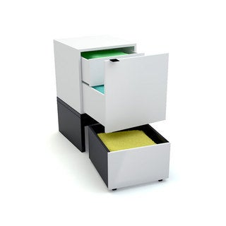 Voelkel Young Users Collection White Wood Cube Cabinet Set