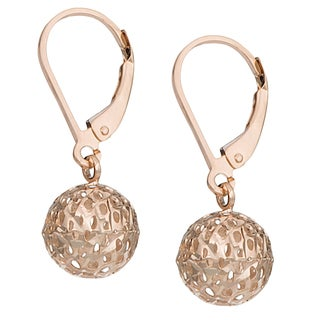 Fremada 14k Yellow, White or Rose Gold Ball Leverback Earrings