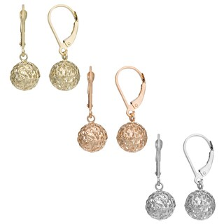 Fremada 14k Yellow, White or Rose Gold Ball Leverback Earrings