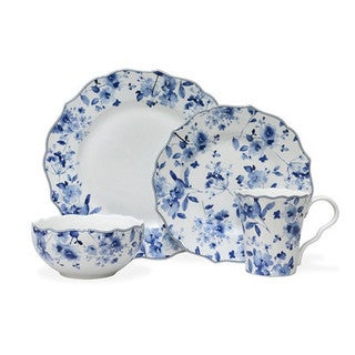 222 Fifth 16-piece 'Sydney' Blue and White Porcelain Dinnerware Set (Service for 4)