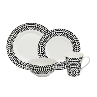 222 Fifth 16-piece Mandisa Black and White Porcelain Dinnerware Set (Service for 4)