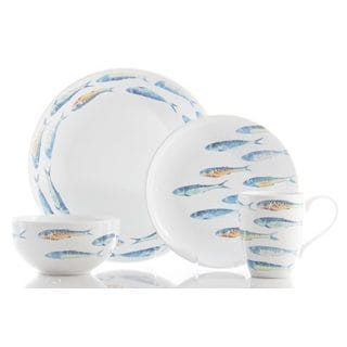 222 Fifth 'Fun Fish' 16-piece Blue and White Porcelain Dinnerware Set (Service for 4)