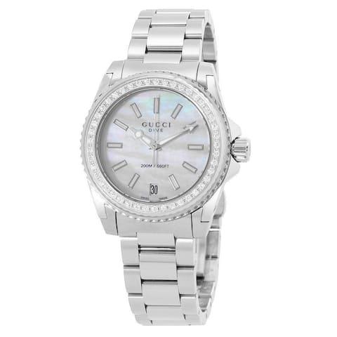 Gucci Women's YA136406 'Dive' Diamond Stainless Steel Watch - Silver