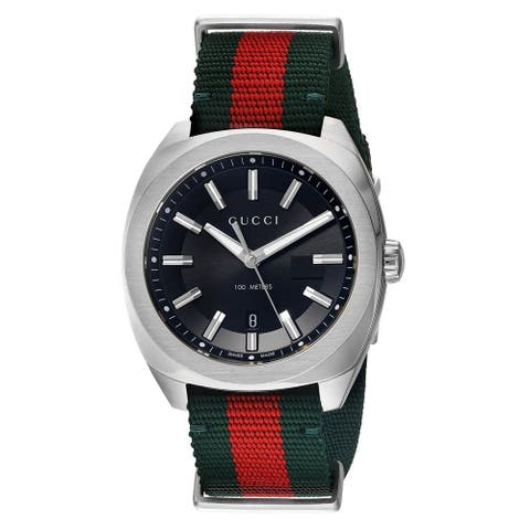 Gucci Men's YA142305 'GG2570' Red and Green Nylon Watch