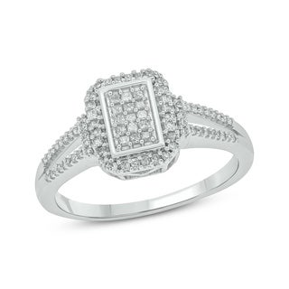 10k White Gold 3/8ct TDW Princess Cut Diamond Fashion Ring