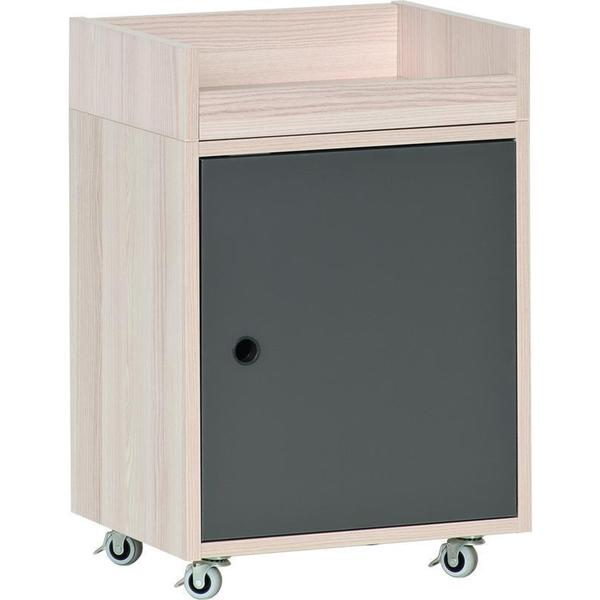 Voelkel Spot Collection White And Grey Wood Small Rolling Desk Storage Unit    Free Shipping Today   Overstock.com   19887125