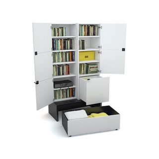 Voelkel Young Users Collection Enclosed Bookcase with Drawers and Platform
