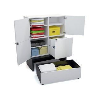 Voelkel Young Users Collection Wide Storage Unit with Platform and Drawer