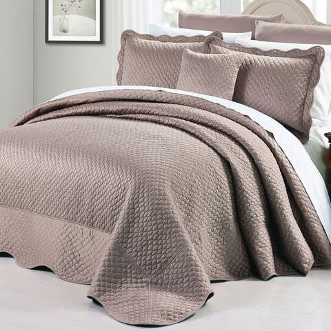 BNF Home Oversized Matte Satin 4-piece Bedspread Set