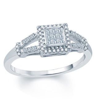 10K White Gold 1/4ct TDW Princess Cut Diamond Fashion