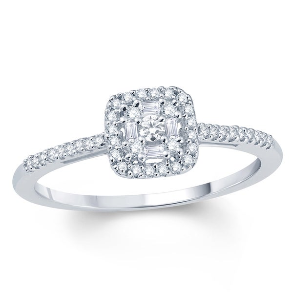 Cali Trove 10K White Gold 1/4ct TDW Diamond Square Baguette Frame and Round Cut Diamond Fashion Ring