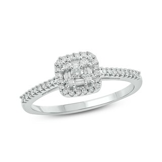 10K White Gold 1/4ct TDW Diamond Square Baguette Frame and Round Cut Diamond Fashion Ring
