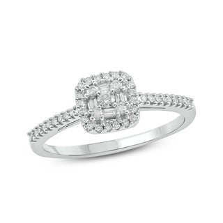 Cali Trove 10K White Gold 1/4ct TDW Diamond Square Baguette Frame and Round Cut Diamond Fashion Ring (More options available)