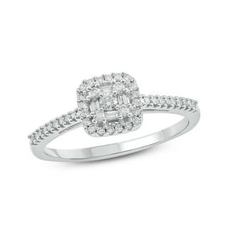 10k white gold 14ct tdw diamond square baguette frame and round cut diamond fashion - Cheap Wedding Rings