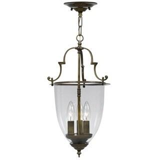 Crystorama Traditional 3-light Autumn Brass Pendant/Flush Mount Fixture