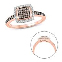10k Rose Gold 1/4ct TDW Diamond Square Frame Ring