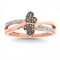 10k Rose Gold 1/6ct TDW White Diamond Double Heart Ring