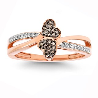 10k Rose Gold 1/6ct TDW White Diamond Double Heart Ring