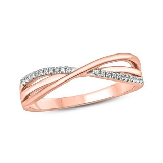 10k Rose Gold 1/10ct TDW Diamond Bypass Fashion Ring