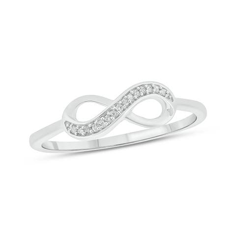 Cali Trove 10kt White Gold 1/20 cttw Infinity Ring