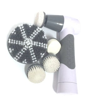 Grey and White Face and Body Brush with 5 Attachments