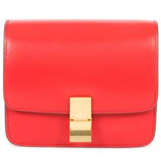 Celine Box Red Calfskin with Gold Hardware Mini Shoulder Handbag
