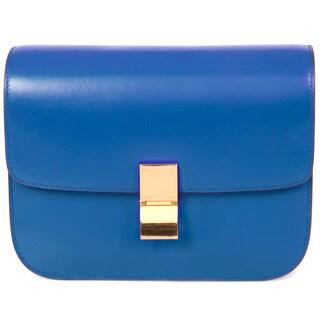 Celine Box Blue Calfskin with Gold Hardware Medium Shoulder Handbag