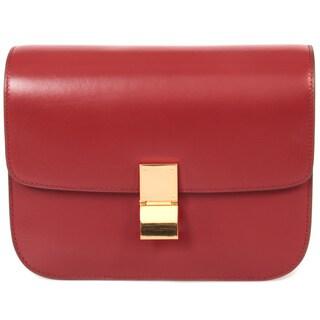 Celine Box Burgundy Calfskin with Gold Hardware Medium Shoulder Handbag