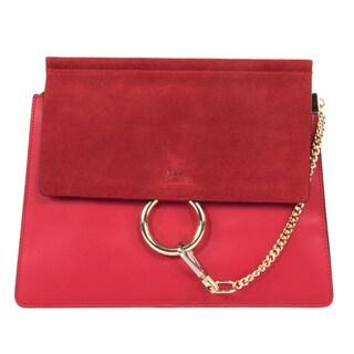 Chloe Faye Red Smooth/Suede Calfskin w/ Pale Gold Hardware Medium Handbag