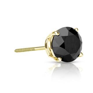 Auriya 14k Gold 1/2ct TDW 4-Prong Screw-Back Round Cut Black Diamond Single Stud Earring