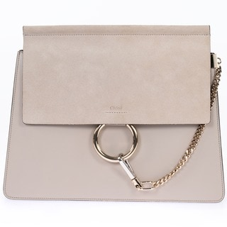 Chloe Faye Pearl Beige Smooth/Suede Calfskin with Pale Gold Hardware Medium Handbag